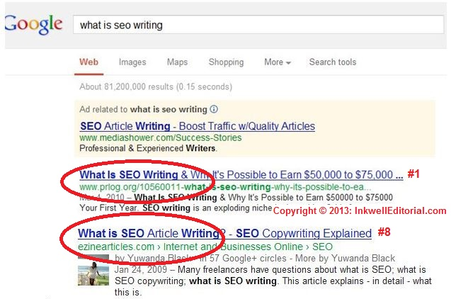 What Is SEO Writing: Google Keyword Phrase Ranking