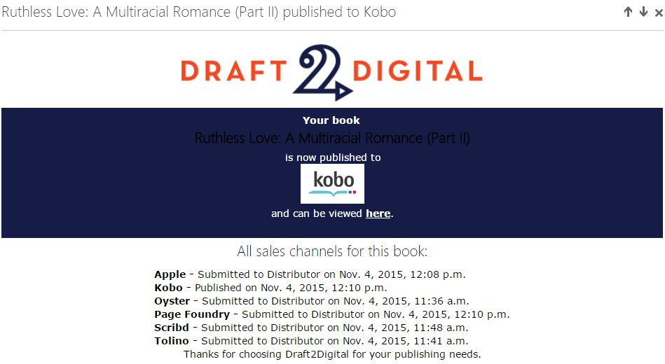 Draft2Digital Publication Notice