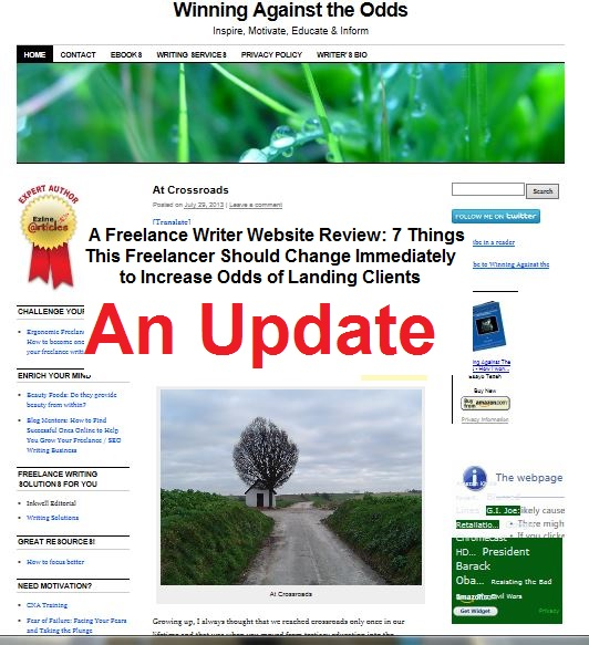 Update to the Post: A Freelance Writer Website Review