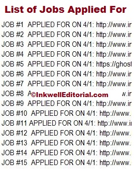 Freelance Writing Jobs Applied For List